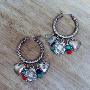 Quoc Turquoise Sterling Silver Charm Earrings